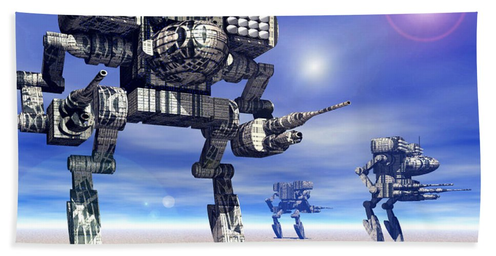 Science Fiction Beach Towel featuring the digital art 501st Mech Trinary by Curtiss Shaffer