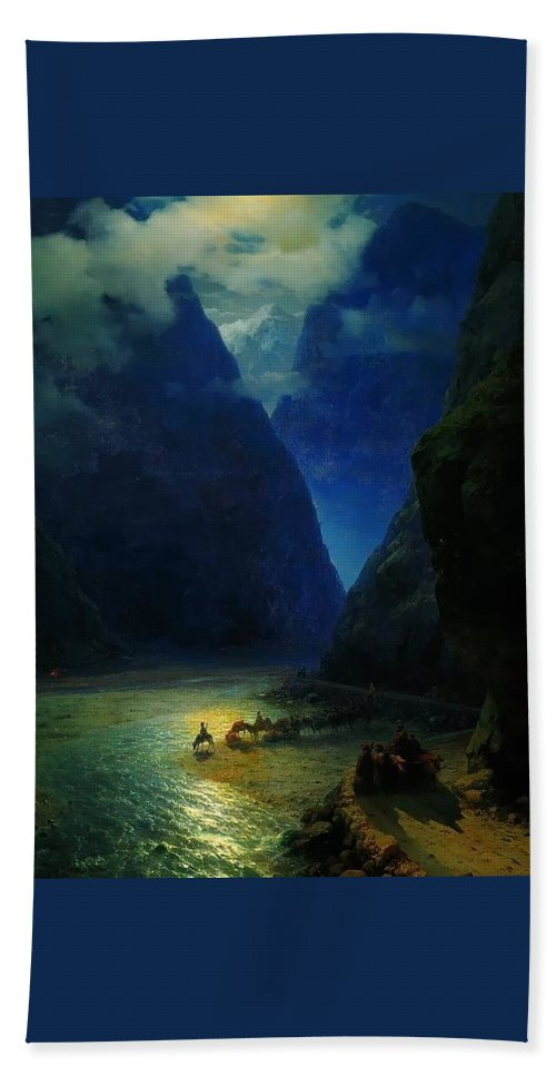 Ivan Constantinovich Aivazovsky Beach Sheet featuring the painting Landscape by MotionAge Designs