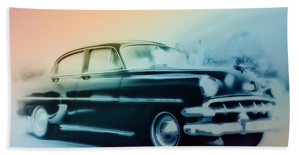 1954 Beach Towel featuring the photograph 54 Chevy by Bill Cannon