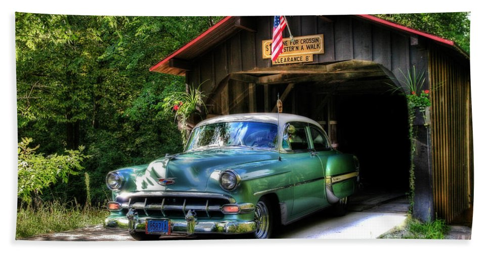 50 Beach Towel featuring the photograph 54 Chevy by Joel Witmeyer
