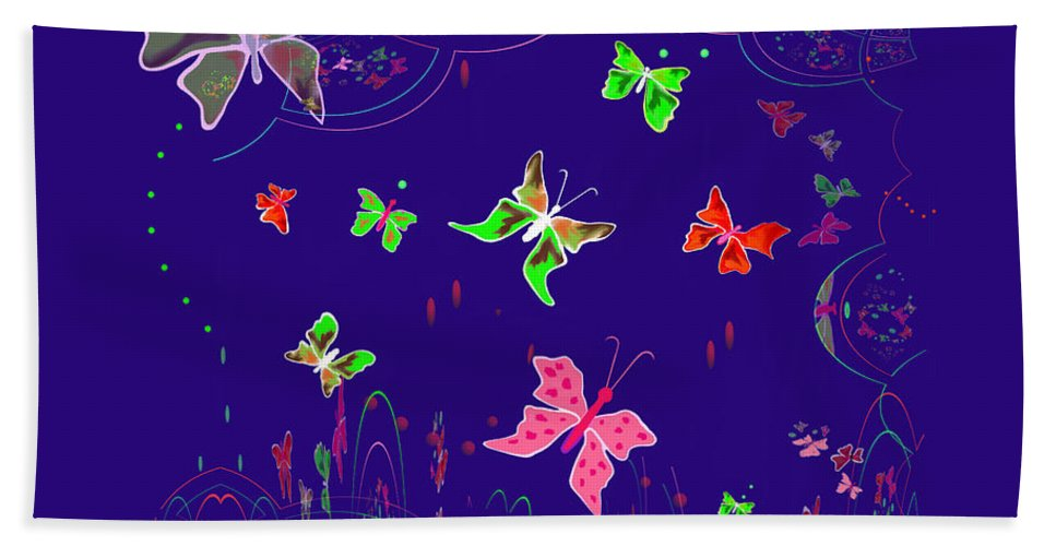 Fractal Beach Towel featuring the painting 558  Butterflies V by Irmgard Schoendorf Welch