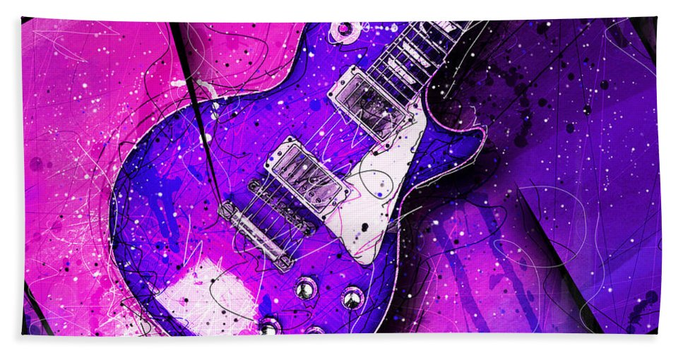 Guitar Beach Towel featuring the digital art 59 In Blue by Gary Bodnar