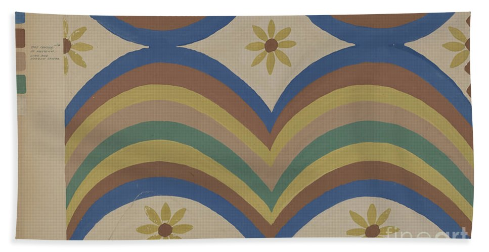 Beach Towel featuring the drawing Colcha by Majel G. Claflin