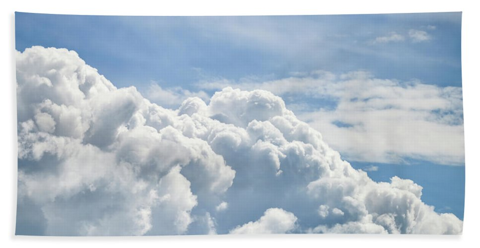 Cumulus Beach Towel featuring the photograph Dramatic Cumulus Clouds With High Level Cirrocumulus Clouds For by Matthew Gibson