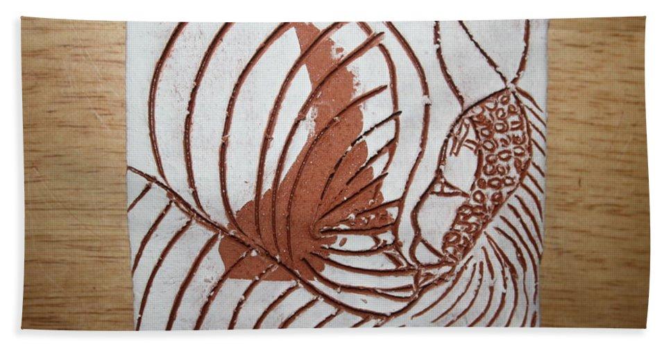 Jesus Beach Towel featuring the ceramic art Jesus Christ - Tile by Gloria Ssali