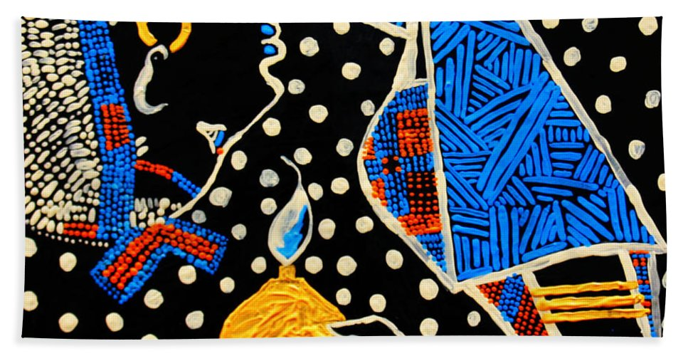 Jesus Beach Towel featuring the painting Murle South Sudanese Wise Virgin by Gloria Ssali
