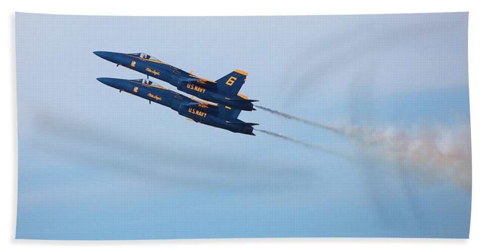 U S Navy Beach Towel featuring the photograph U S Navy Blue Angeles, Formation Flying, Smoke On by Bruce Beck