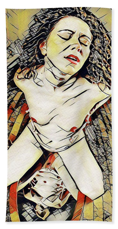 Mirror Beach Towel featuring the digital art 6151s-KD Aroused Woman Kneeling Over Mirror Erotica in the Style of Kandinsky by Chris Maher