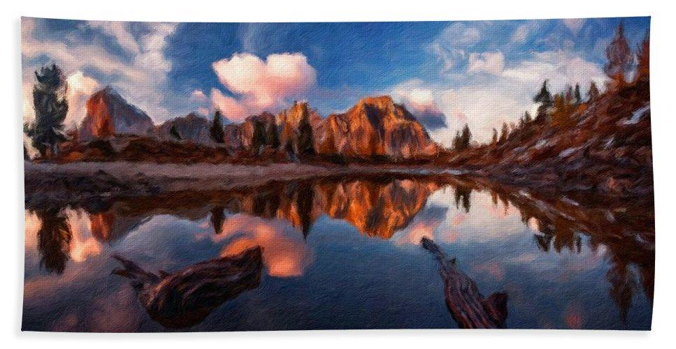J Beach Towel featuring the digital art G H Landscape by Malinda Spaulding