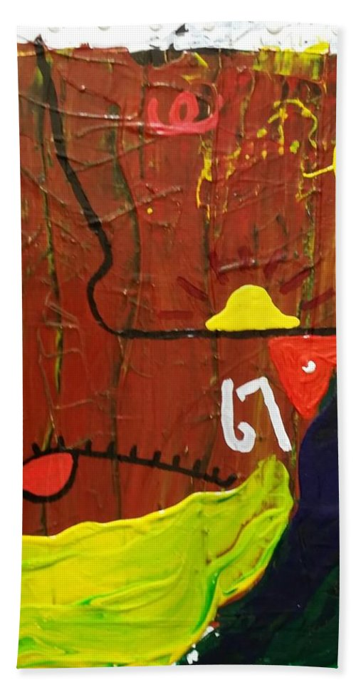 Abstract Beach Towel featuring the painting 67 by Peter Nervo