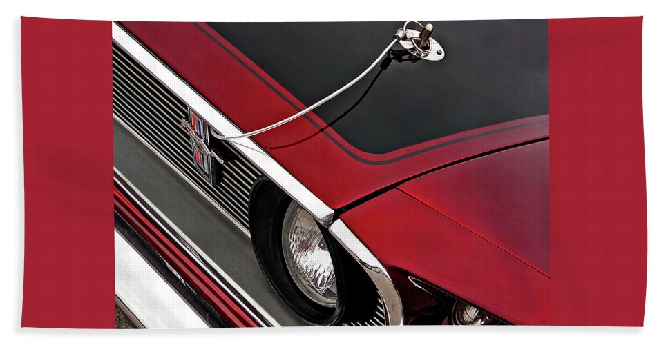 Classic Ford Mustang Beach Towel featuring the photograph 69 Mustang Hood Pin And Grille by Gill Billington