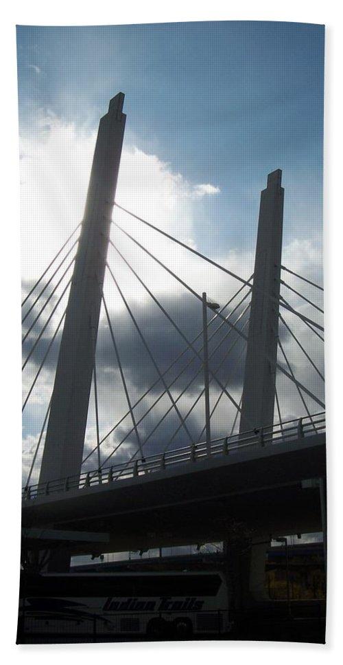 Bridge Beach Towel featuring the photograph 6th Street Bridge Backlit by Anita Burgermeister