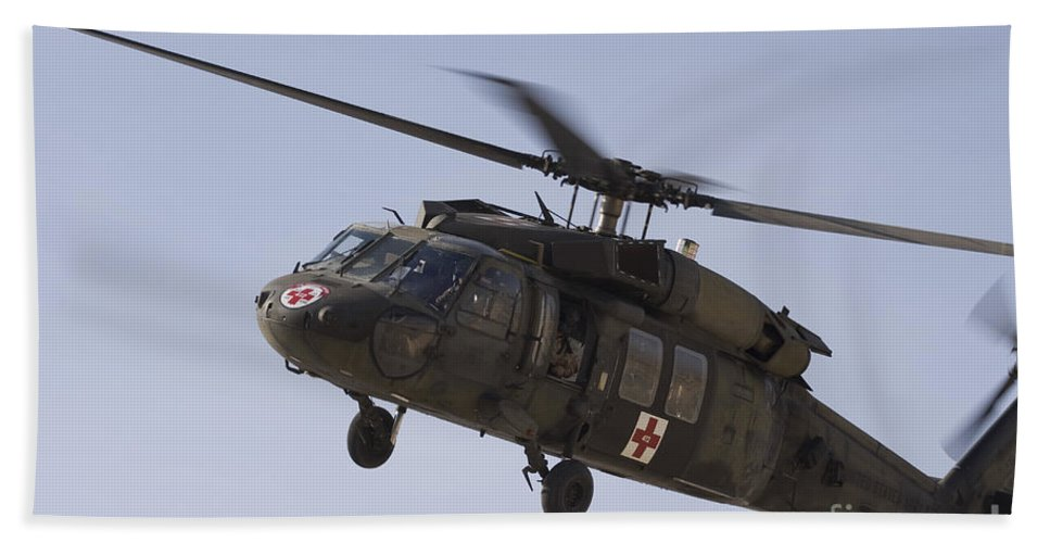 Aviation Beach Towel featuring the photograph A Uh-60 Blackhawk Medivac Helicopter by Terry Moore