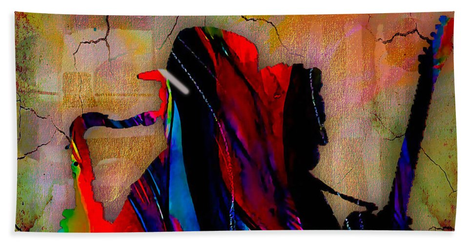 Bruce Springsteen Art Beach Towel featuring the mixed media Bruce Springsteen Collection by Marvin Blaine