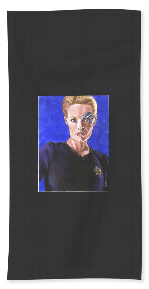Jeri Ryan Beach Towel featuring the painting 7 Of 9 by Bryan Bustard