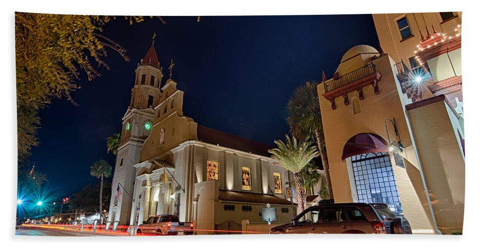 Florida Beach Towel featuring the photograph St Augustine City Street Scenes Atnight by Alex Grichenko