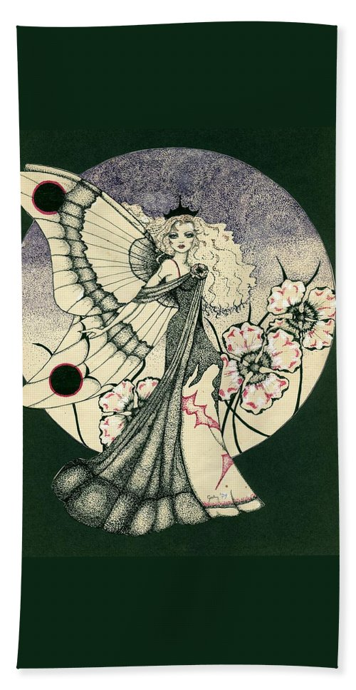 70's Style Beach Towel featuring the drawing 70's Angel by V Boge