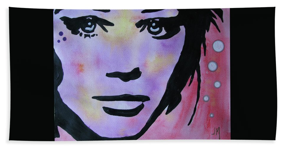 Portrait Face Woman Contemporary Modern Urban Fashion Expressionism Abstract Figurative Eyes Original Painting Pop Decorative Gift Girl Love Paper Watercolor Canvas Texture Acrylic Spray Paint Silhouette Juan Mildenberger Oil Drawing Mixed Media Beach Towel featuring the painting Untitled by Juan Mildenberger