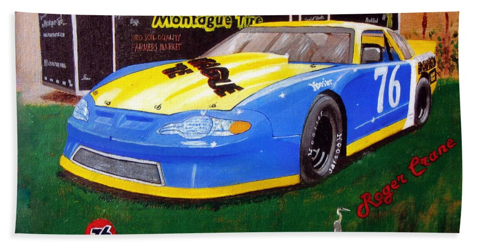 Nascar Beach Towel featuring the painting 76 Roger Crane by Richard Le Page
