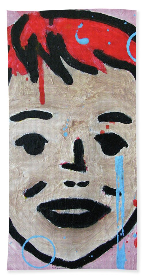 Portrait Face Mixed Media Contemporary Modern Urban Fashion Expressionism Abstract Figurative Eyes Original Painting Decorative Gift Girl Paper Watercolor Canvas Texture Acrylic Spray Paint Silhouette Street Art Drawing Painting Oil Marker Children Vintage Beach Towel featuring the painting Untitled by Juan Mildenberger