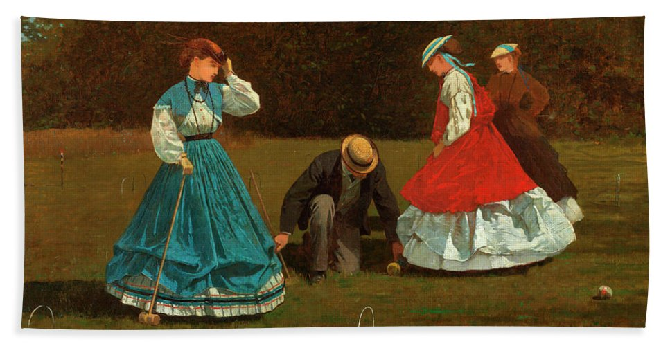 Croquet Scene Beach Sheet featuring the painting Croquet Scene by Winslow Homer