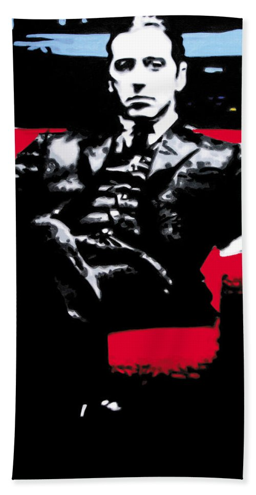 Al Pacino Beach Towel featuring the painting The Godfather by Luis Ludzska
