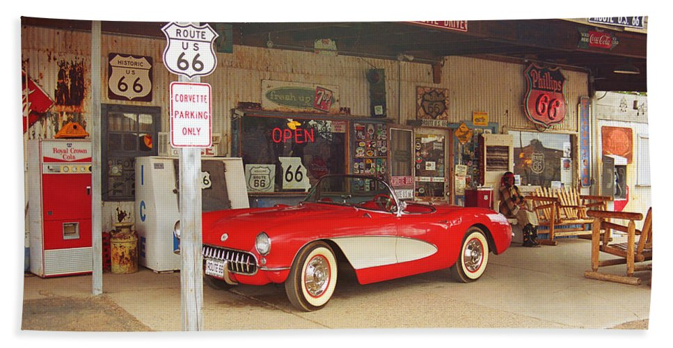 66 Beach Towel featuring the photograph Route 66 Corvette by Frank Romeo