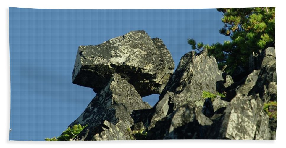 Rocks Beach Towel featuring the photograph A Balancing Rock by Jeff Swan