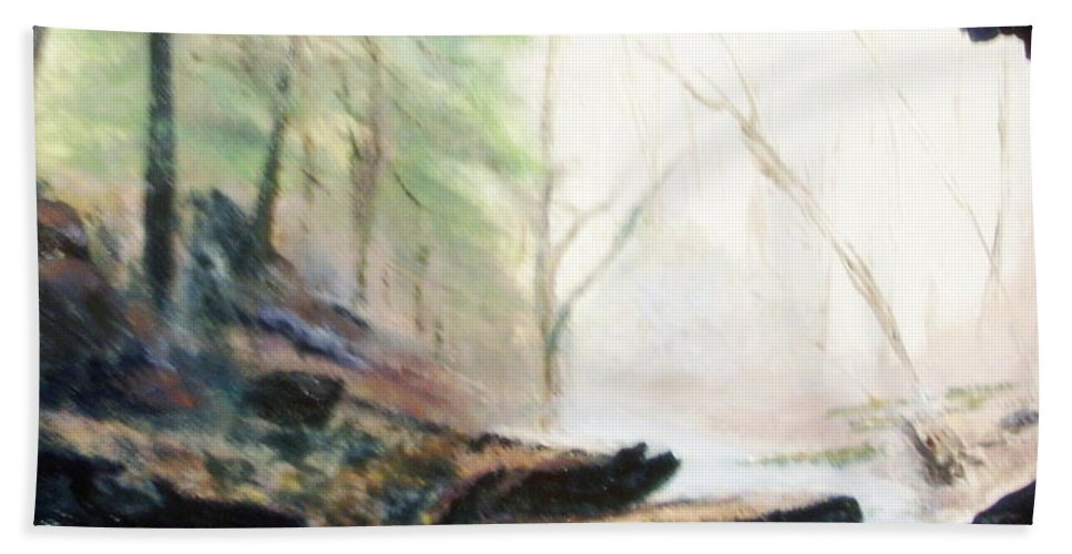Cave Beach Towel featuring the painting A Bears View by Gail Kirtz