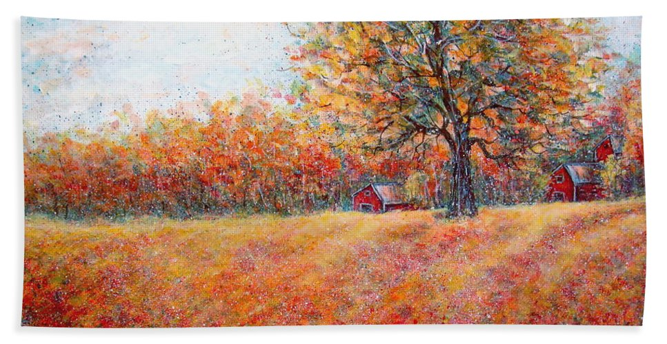 Autumn Landscape Beach Sheet featuring the painting A Beautiful Autumn Day by Natalie Holland