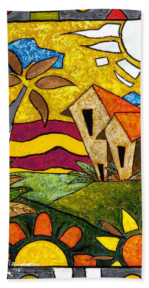 Puerto Rico Beach Sheet featuring the painting A Beautiful Day by Oscar Ortiz