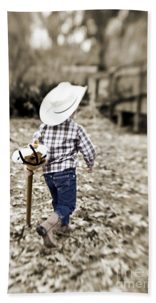 Boy Beach Towel featuring the photograph A Boy And His Horse by Scott Pellegrin