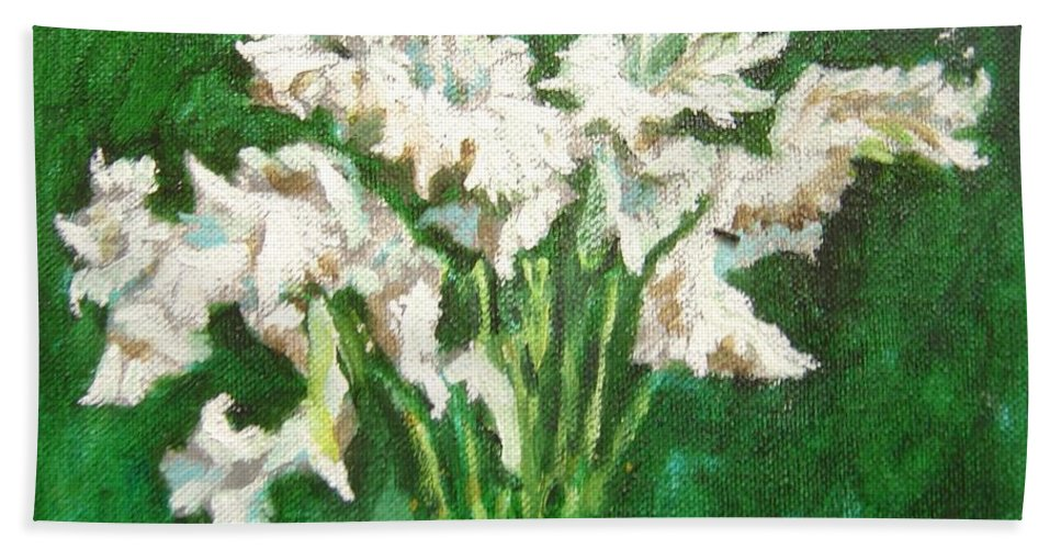 Bunch Beach Towel featuring the painting A bunch of White Gladioli by Usha Shantharam