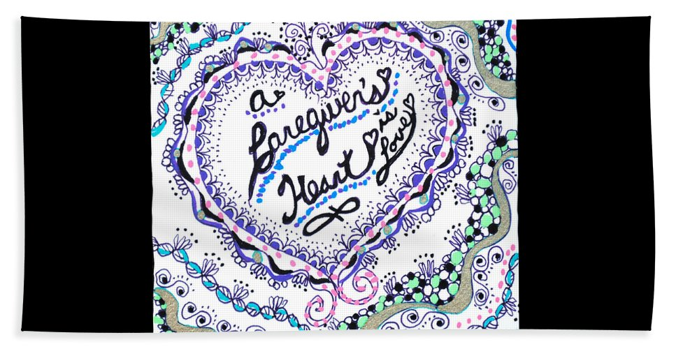 Zentangle Beach Towel featuring the drawing A Caring Heart by Carole Brecht