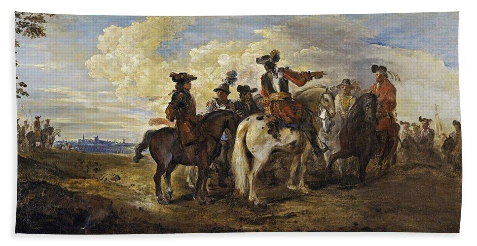 Joseph Parrocel Beach Towel featuring the painting A Cavalry Skirmish by Joseph Parrocel