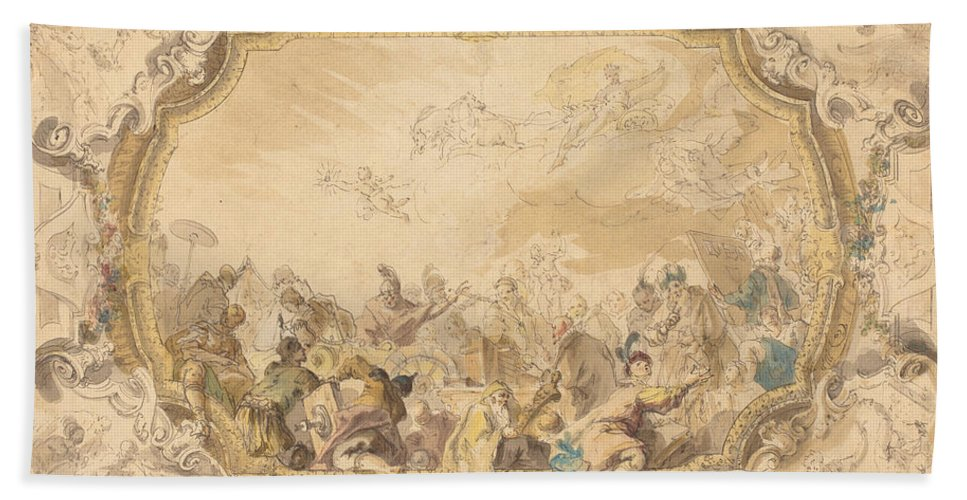 Beach Towel featuring the drawing A Ceiling With Apollo Presiding Over Military And Historical Learning by Anton Kern
