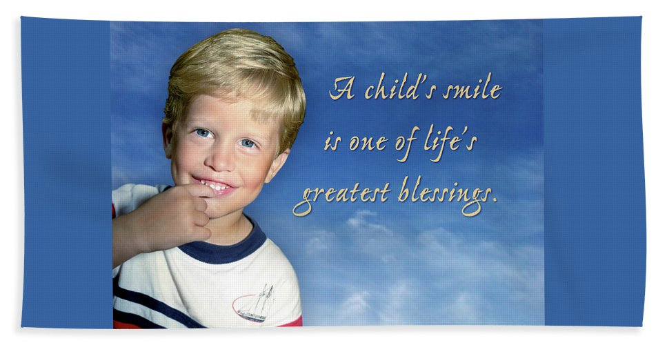 Boy Beach Towel featuring the photograph A Child's Smile by Marie Hicks