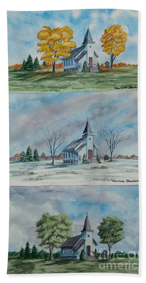 Country Summer Beach Towel featuring the painting A Church For All Seasons by Charlotte Blanchard