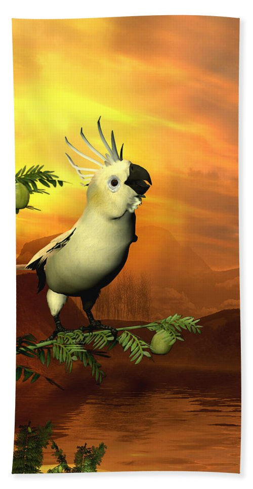 Cockatoo Beach Sheet featuring the digital art A Cockatoo In A Tree by John Junek