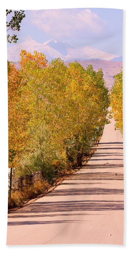 Rockymountains Beach Towel featuring the photograph A Colorful Country Road Rocky Mountain Autumn View by James BO Insogna