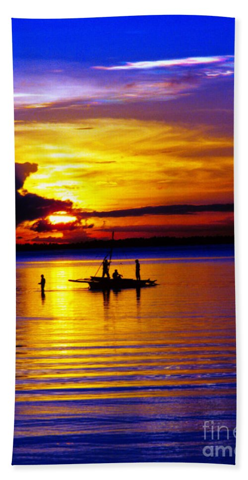 Sunset Beach Towel featuring the photograph A Colorful Golden Fishermen Sunset Vertical Print by James BO Insogna