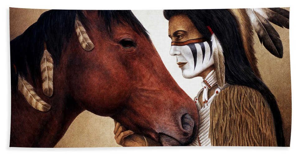 Horse Beach Towel featuring the painting A Conversation by Pat Erickson