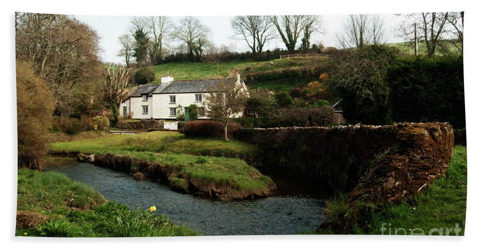 Cornish Beach Towel featuring the photograph A Cornish Cottage By The Stream by Rob Hawkins