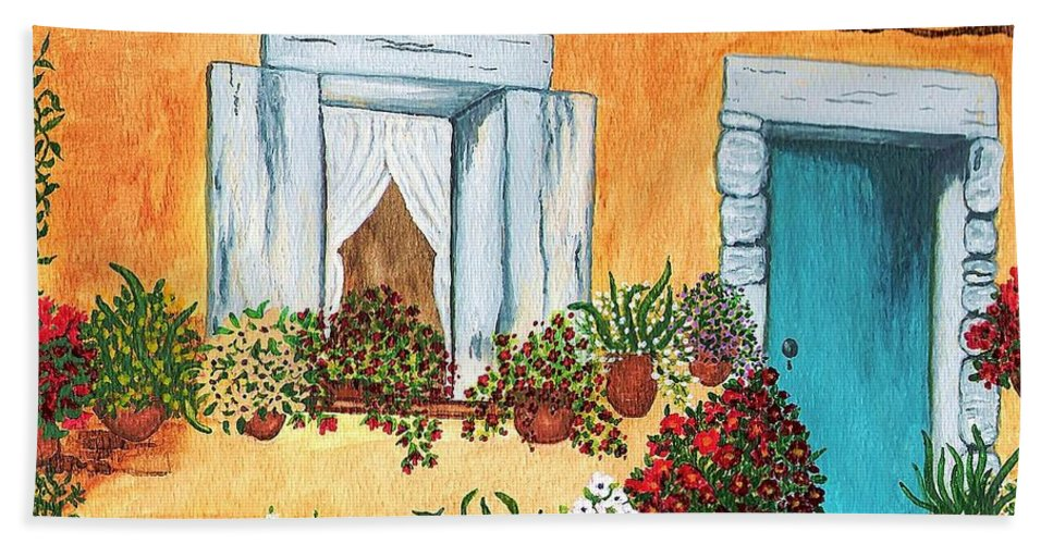 Watercolor Painting Beach Towel featuring the painting A Cottage in the Village by Patricia Griffin Brett