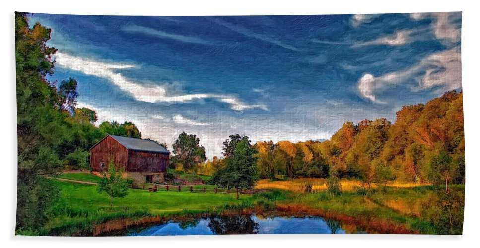 Pond Beach Towel featuring the photograph A Country Place Painted Version by Steve Harrington