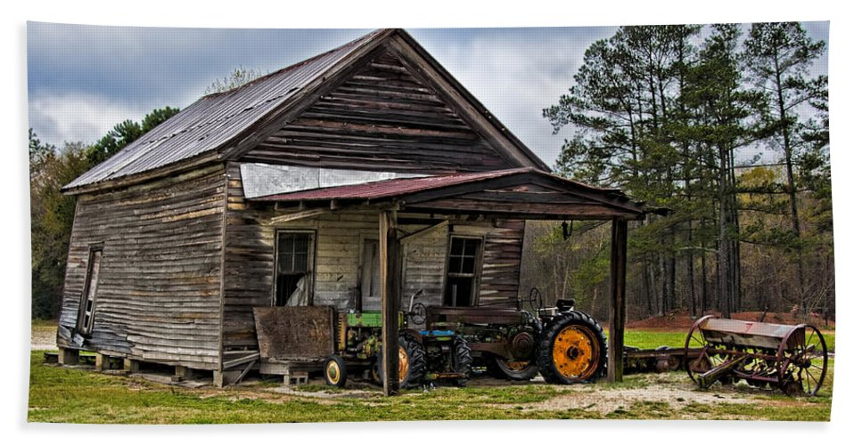 Barn Beach Towel featuring the photograph A Crooked Little Barn by Christopher Holmes
