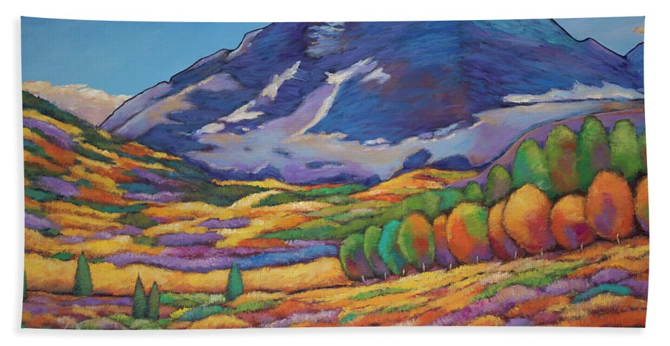 Aspen Tree Landscape Beach Towel featuring the painting A Day in the Aspens by Johnathan Harris