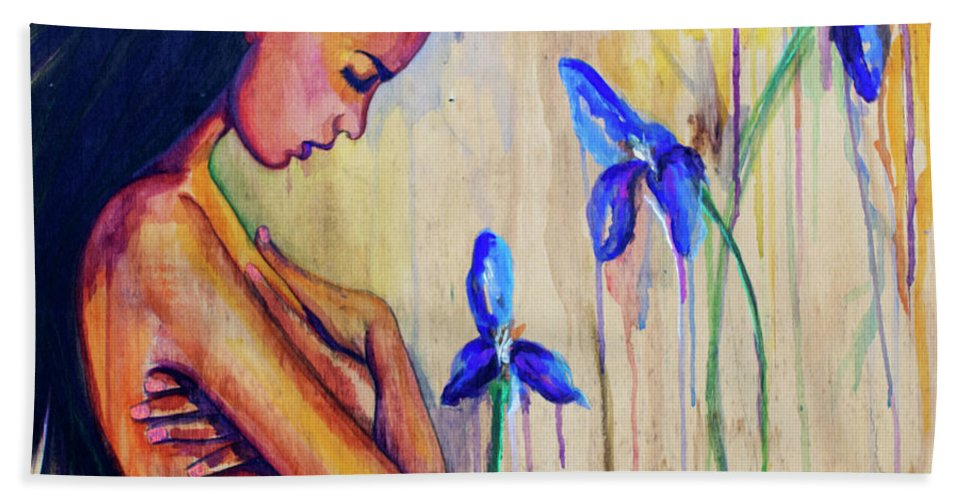 Flowers Beach Towel featuring the painting A Different Kind Of Blue by Jasleni Brito