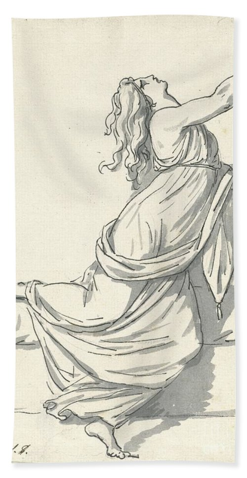 Beach Towel featuring the drawing A Distraught Woman With Her Head Thrown Back by Jacques-louis David