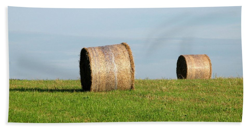 Haybales Beach Towel featuring the photograph A Fine Day by Maria Joy